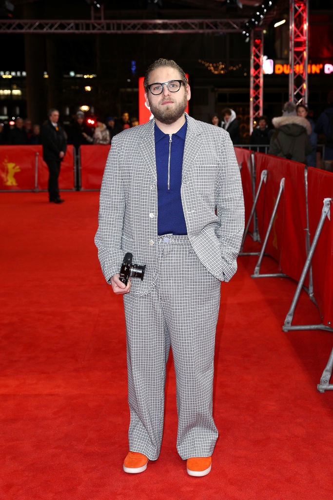"""he wore a plaid suit to the """"Mid 90s"""" premiere"""