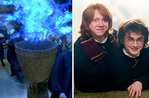 the goblet of fire on the left and harry and ron on the right