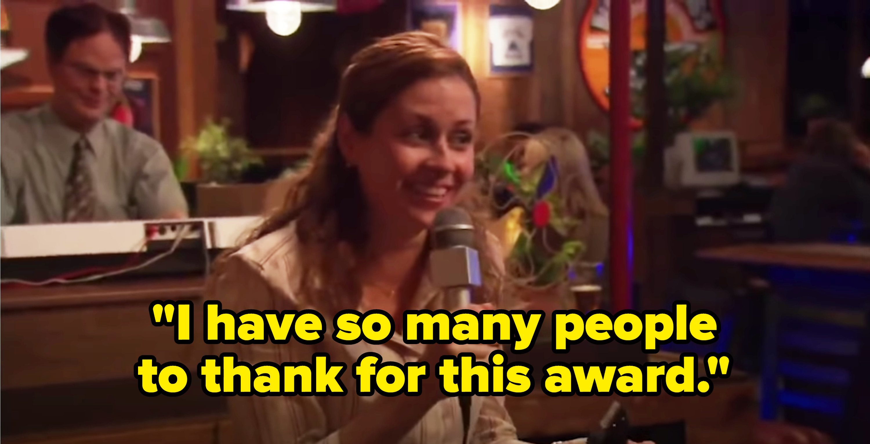 """Pam smiles while giving her award speech: """"I have so many people to thank for this award"""""""