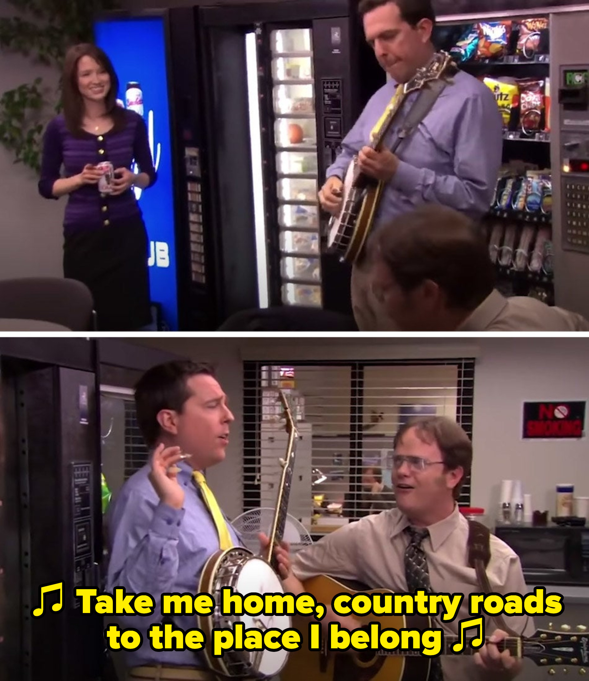 """Erin watches Dwight on guitar and Andy on banjo sing, """"Take me home, country roads to the place I belong"""""""