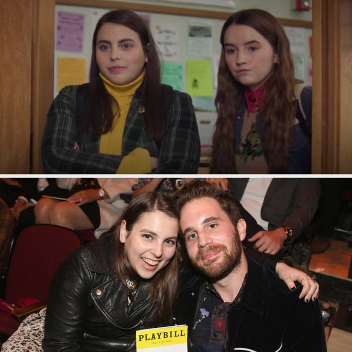 Above, Molly and Amy lean against a door frame, looking to a classroom. Below, Feldstein and Platt pose with a Playbill in a theatre