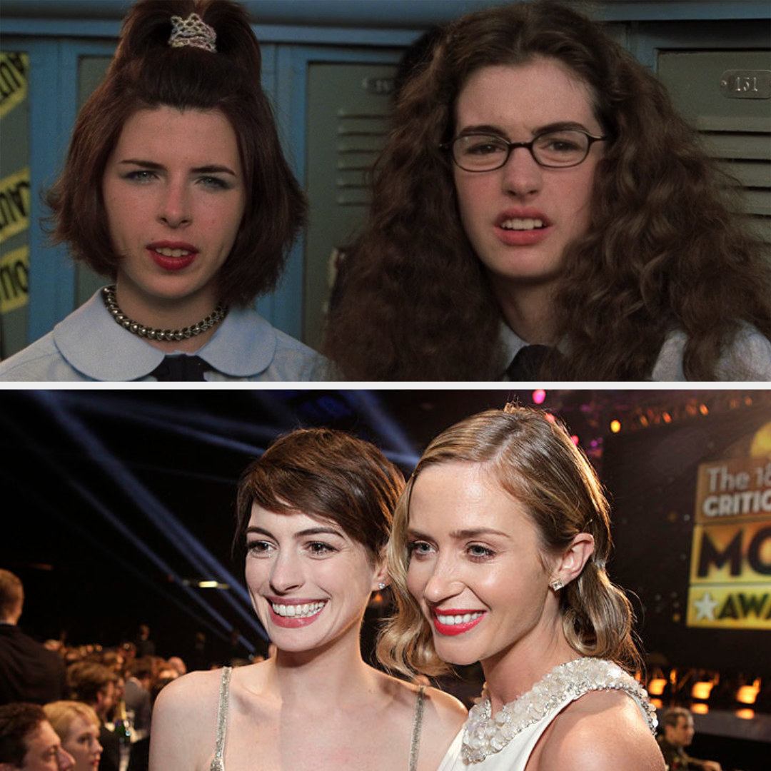 Above, Mia and Lilly stand by their lockers at school. Below, Hathaway and Blunt pose at an awards show