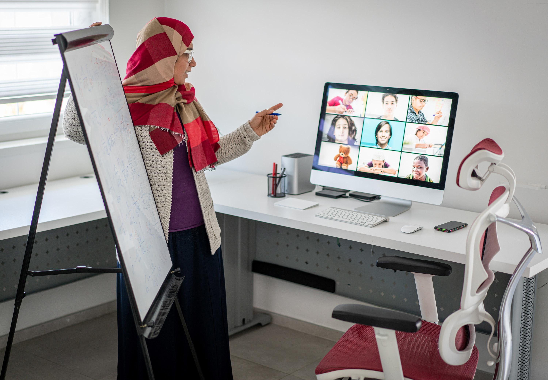 Teacher leading a remote class
