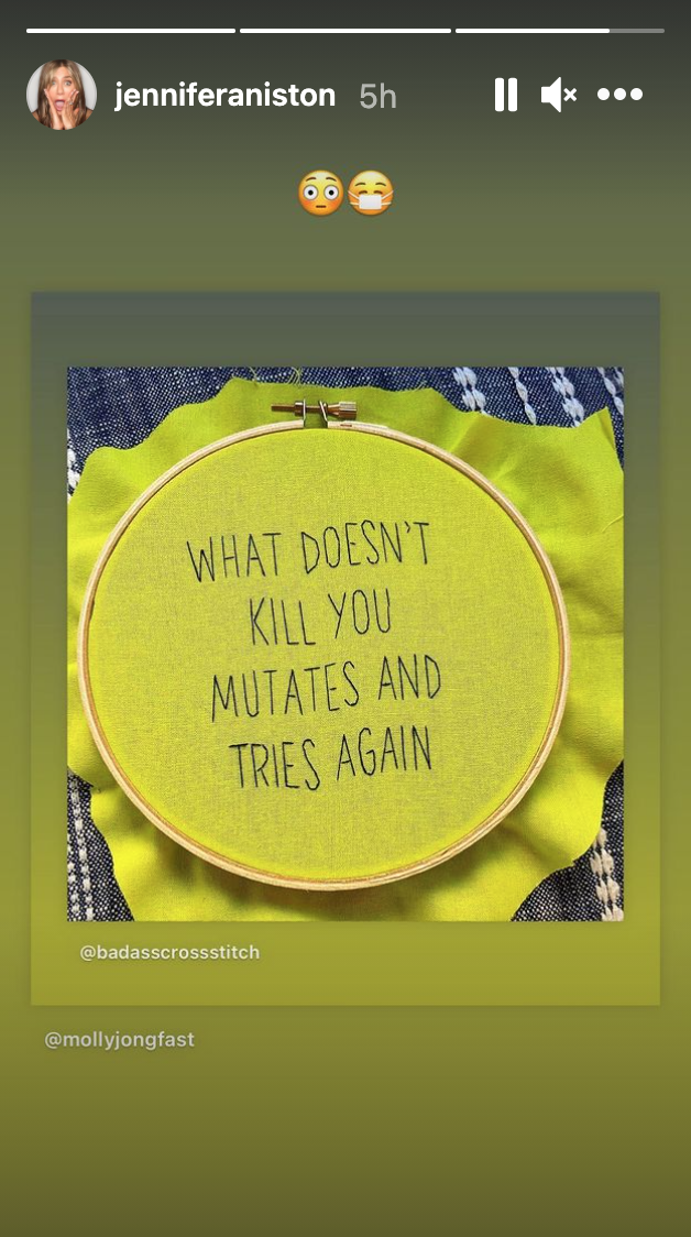 The cross-stitch that Aniston posted to her Instagram story