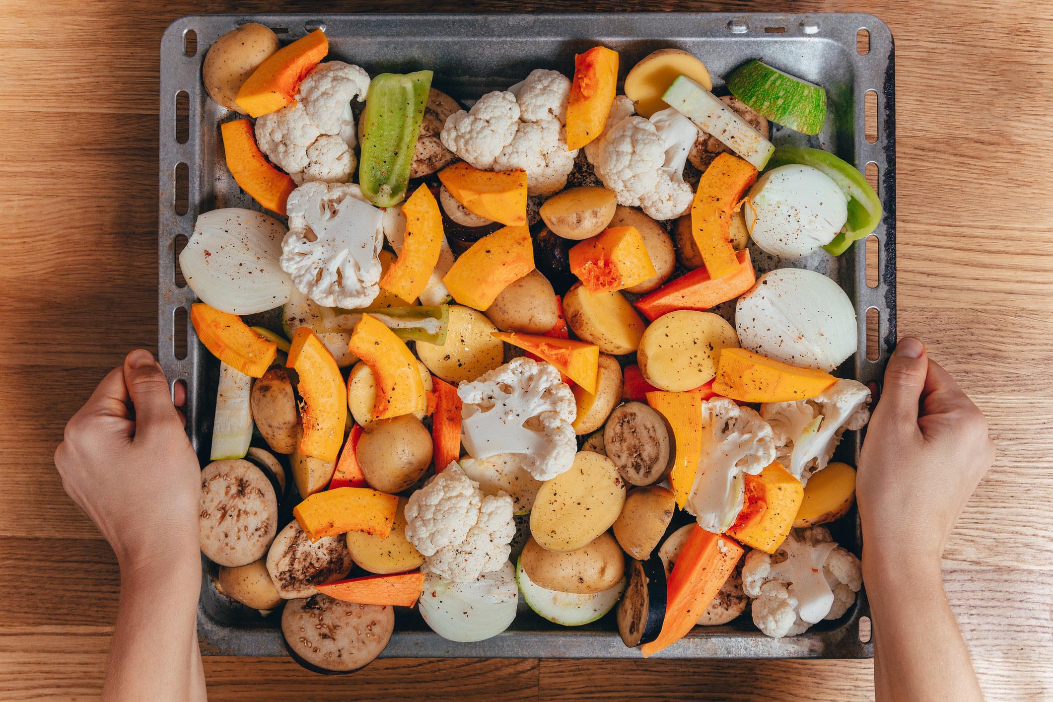 Roasting vegetables.