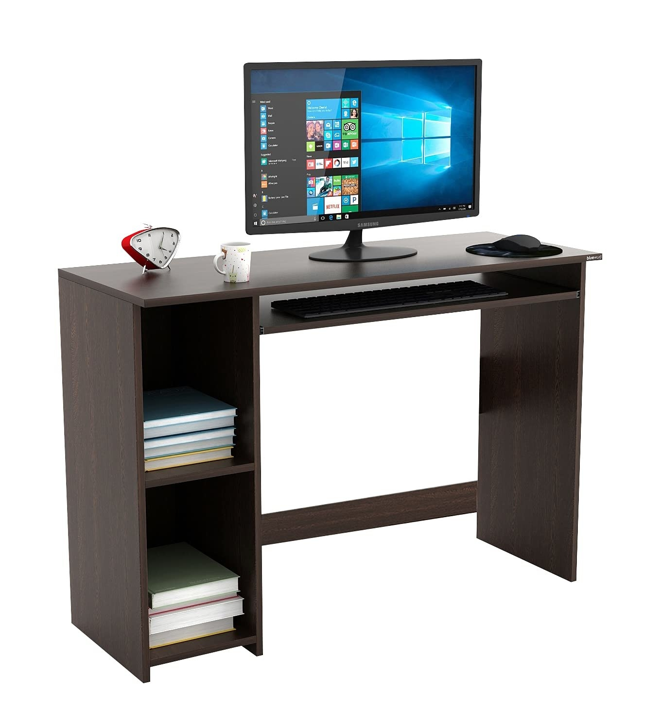 A wooden desk with a monitor and other items on top, and books stored in its multiple cabinets below