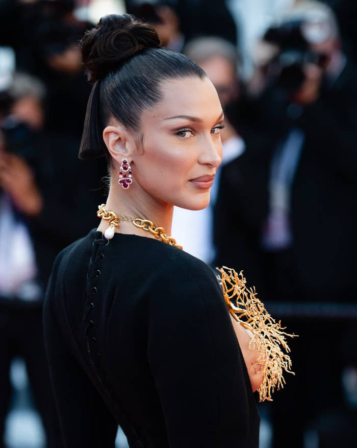 Bella Hadid is pictured on the red carpet at the Cannes Film Festival in 2021