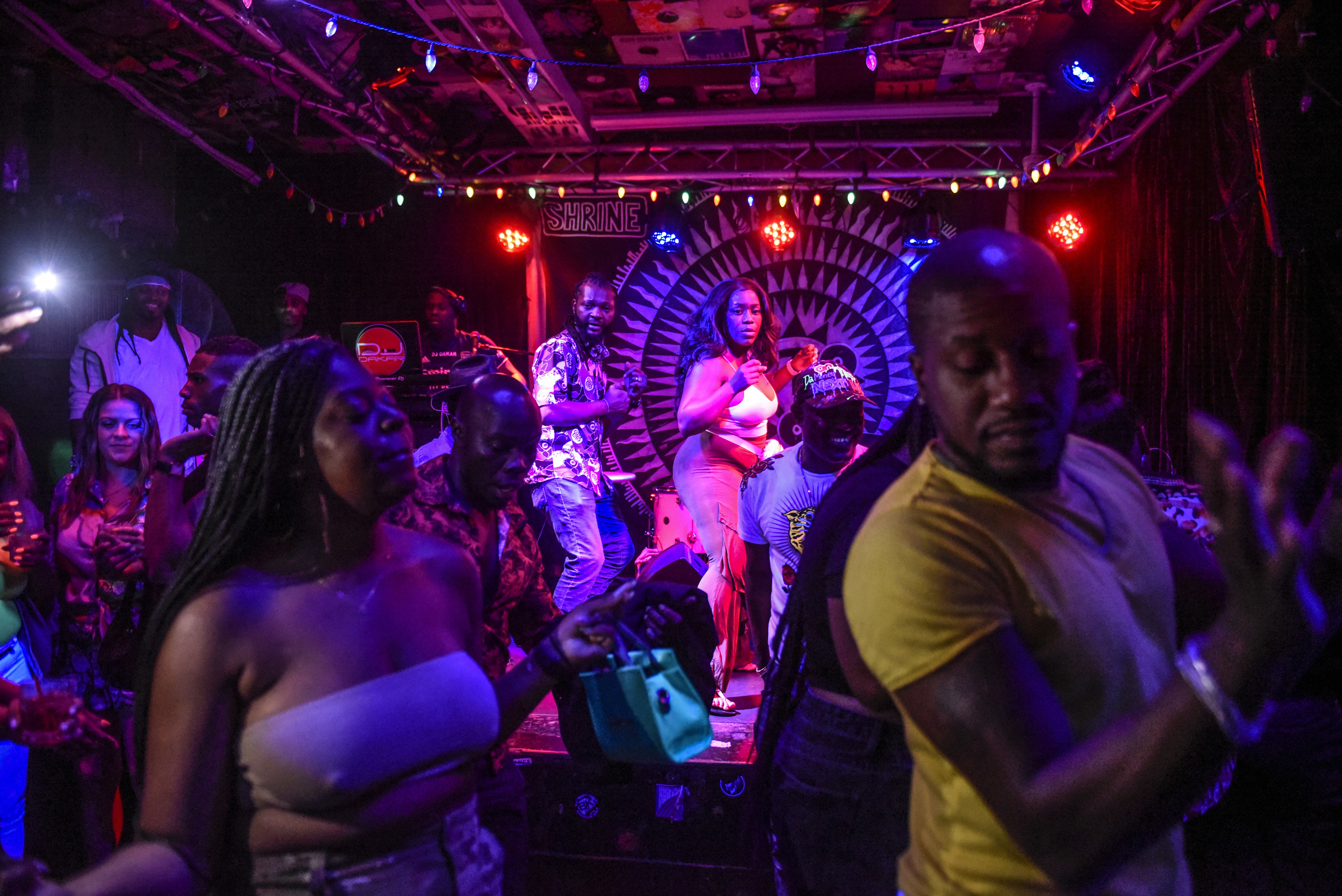 The crowd at the Shrine in Harlem danced to Afrobeats as fireworks exploded outside in celebration of July 4th
