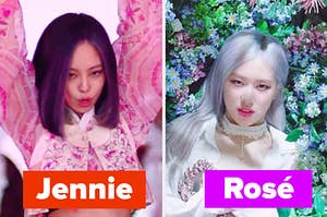 jennie sings next to rose who lays in a bed of flowers