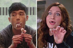 """On the left, Jason from """"The Good Place"""" with lollipops in his mouth, and on the right, Gina from """"Brooklyn Nine-Nine"""" pulling fake teeth out of her mouth"""