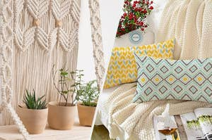 white macrame hanging wooden shelf with potted plants on it, 2 ikkat rectangular yellow and teal cushion covers placed on a sofa
