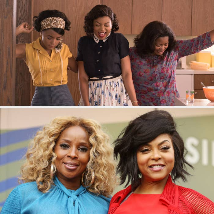 Above, Katherine dances in the kitchen with Dorothy and Mary. Below, Henson and Blige pose at Henson's Hollywood Star ceremony