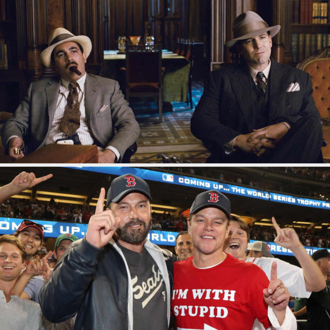 Above, Dion and Joe are in a meeting with a mob boss. Below, Affleck and Damon attend the World Series game wearing Boston Red Sox hats
