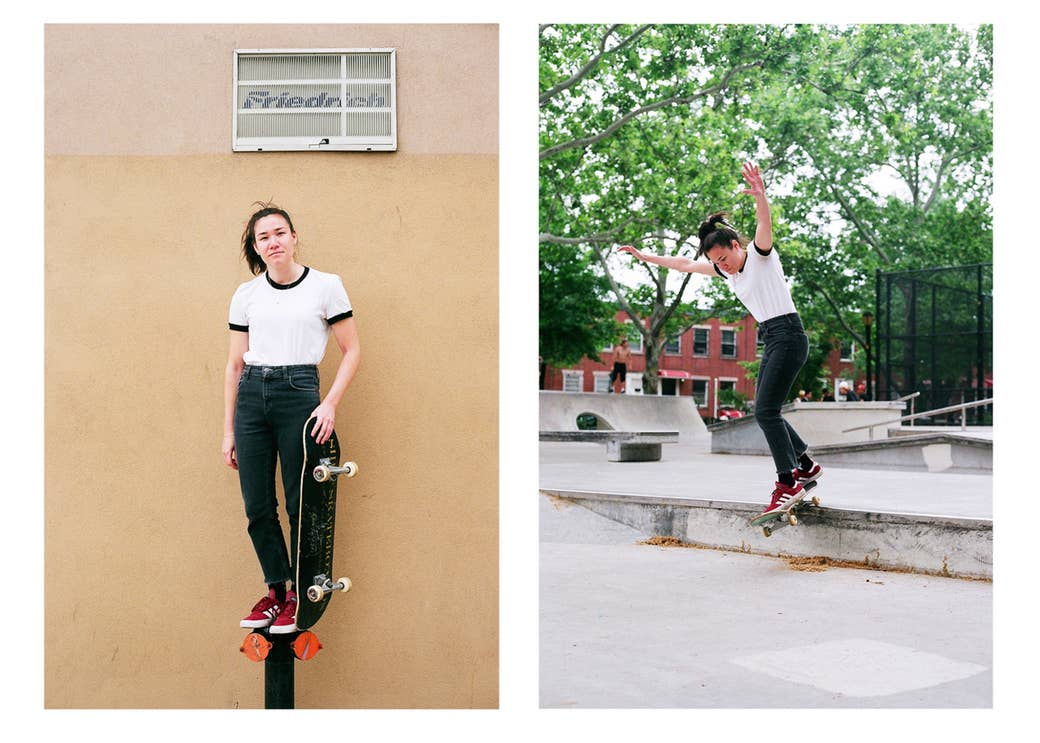 A woman standing on a fire hydrant and a photo of the same woman doing a trick on a skateboard