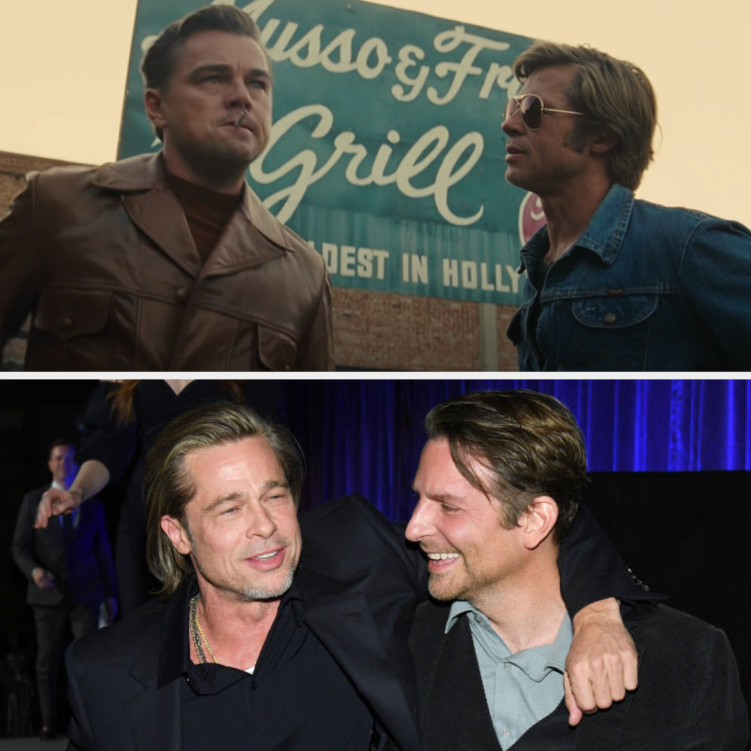 Above, Rick and Cliff stand outside a restaurant while Rick smokes. Below, Pitt has his arm around Cooper.