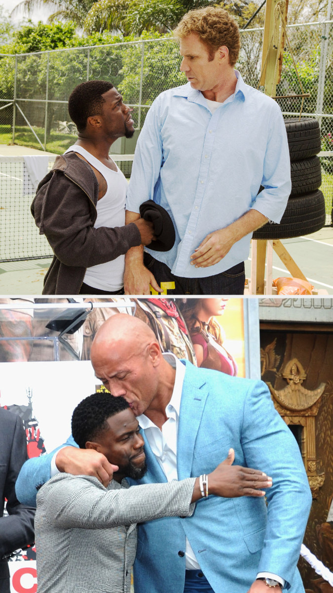 Above, Darnell and James talk on the tennis court. Below, Johnson kisses Hart on the head during a ceremony at the TCL Chinese Theatre