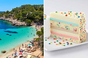 On the left, Ibiza on a sunny day, and on the right, a celebration cheesecake from the Cheesecake Factory