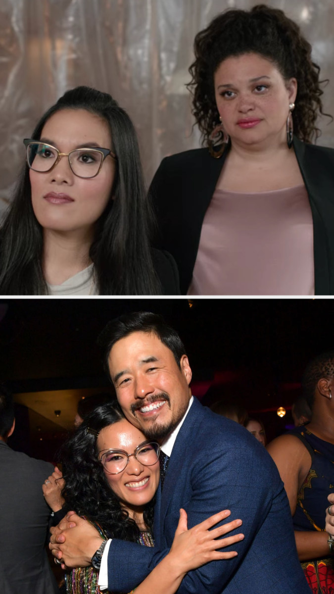Above, Sasha and Veronica at a tour of Sasha's new restaurant. Below, Wong and Randall hug while posing for a photo