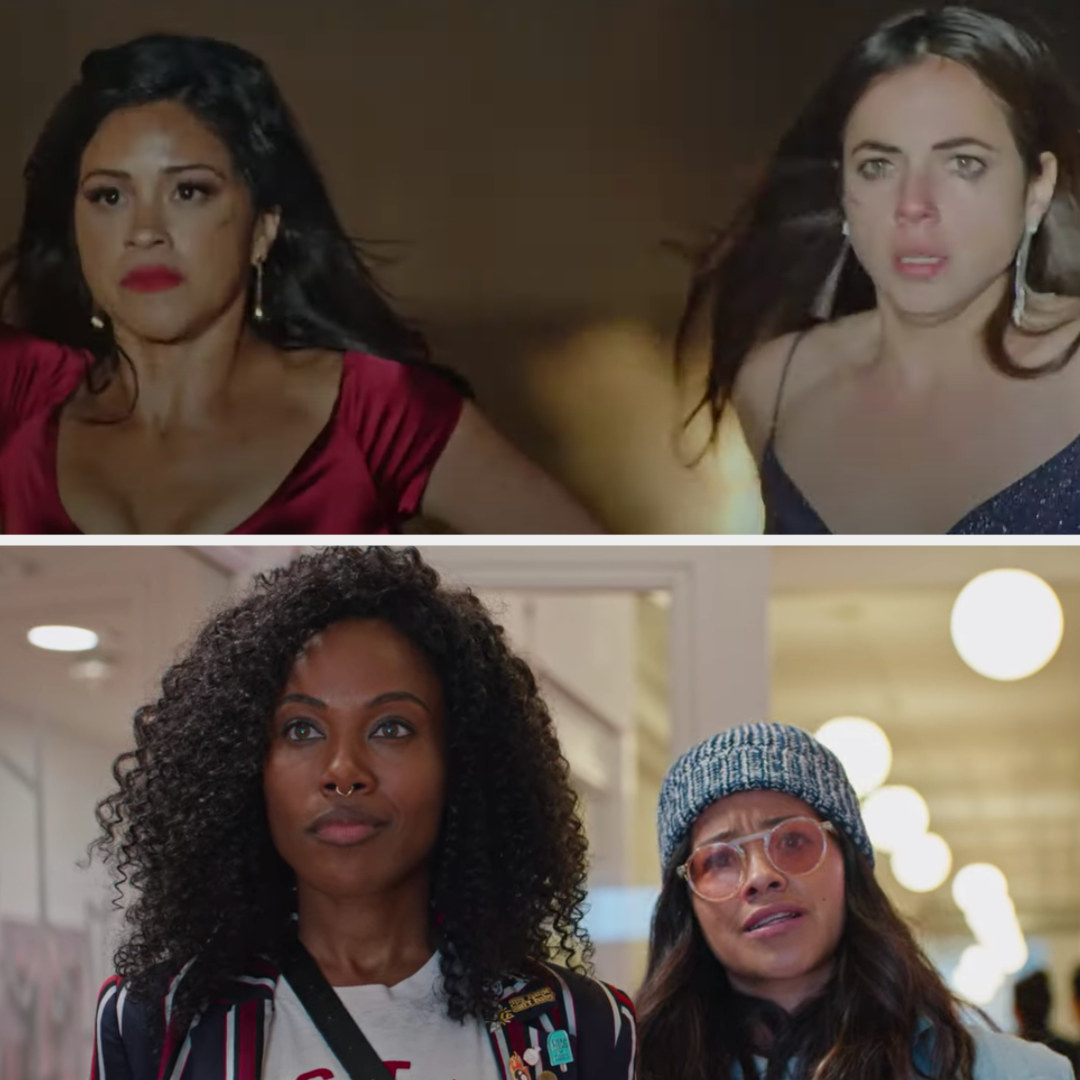 Above, Gloria and Suzu out their hands up as the police arrive. Below, DeWise and Rodriguez are in character as best friends in movie Someone Great