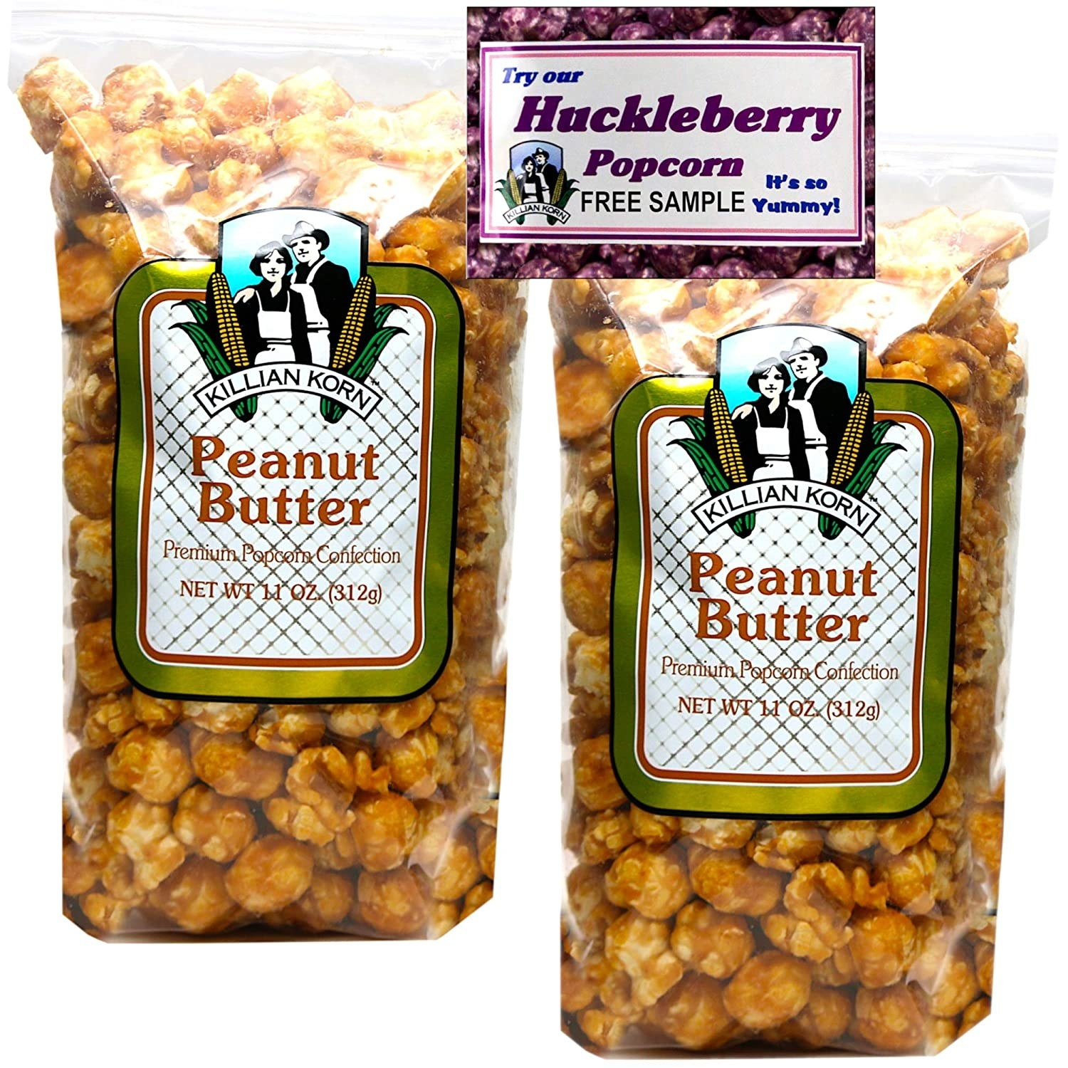 two bags of peanut butter popcorn