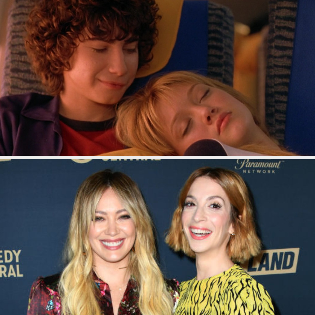 Above, Lizzie leans on Gordo's shoulder on the plane. Below, Duff poses with Bernard at a press event.