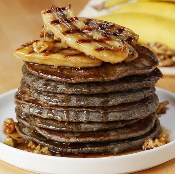 Banana Bread Pancakes With Grilled Maple Rum Bananas