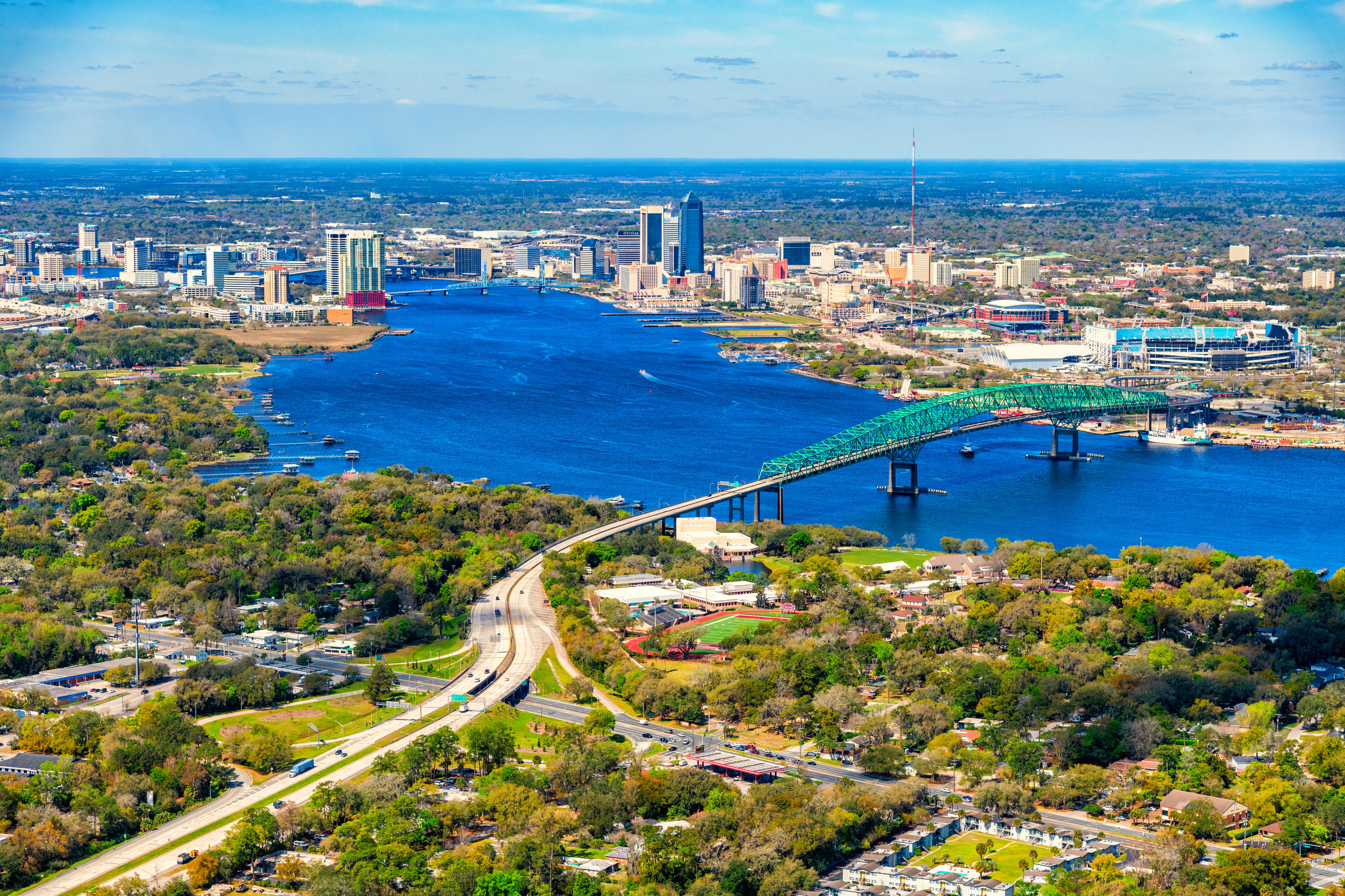 Aerial view of the city of Jacksonville and the river