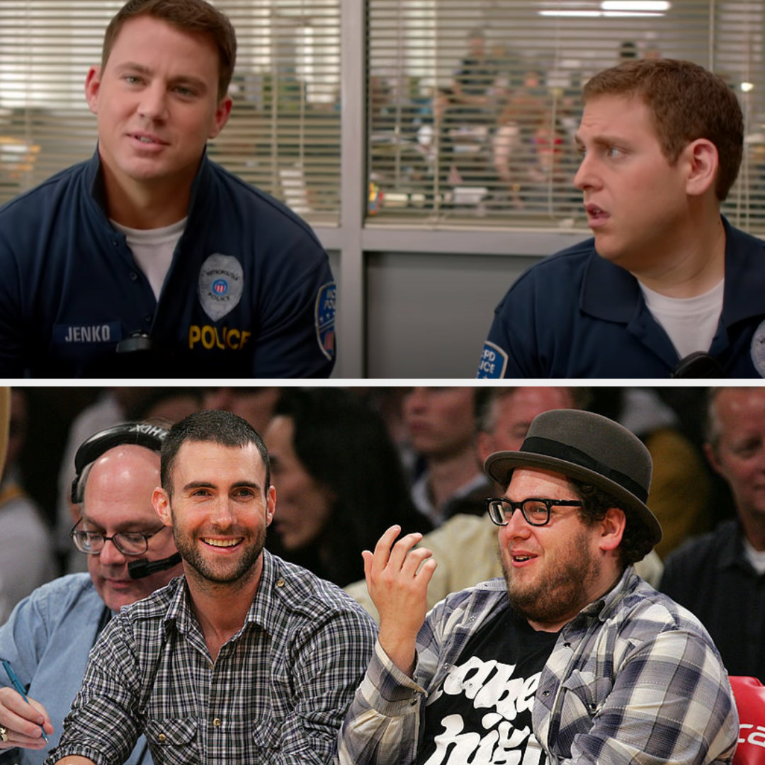 Above, Morton and Greg sit next to each other during a meeting in the police office. Below, Adam and Jonah laugh courtside at a basketball game