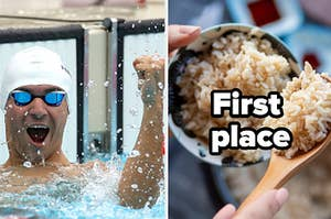 """A swimmer is on the left cheering with brown rice on the right labeled, """"first place"""""""