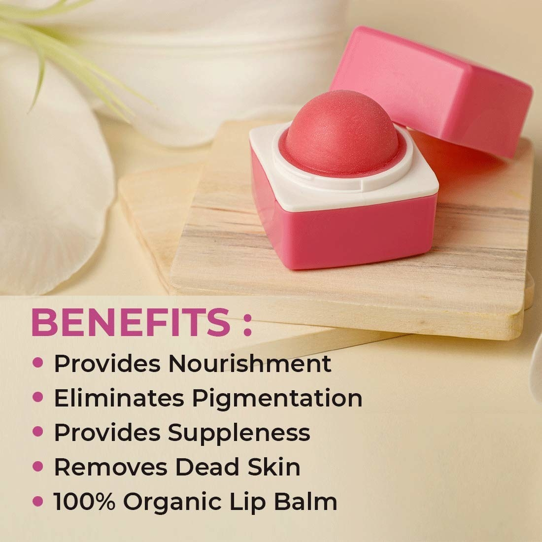 The lip balm on a wooden object with benefits of it listed below