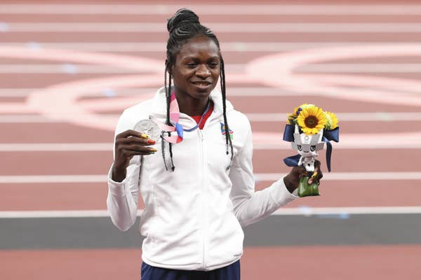 Christine Mboma of Namibia holds Women's 200m Final silver medal