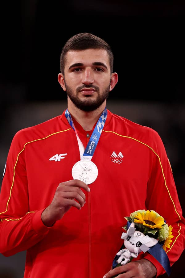 Dejan Georgievski of Team North Macedonia poses with silver medal