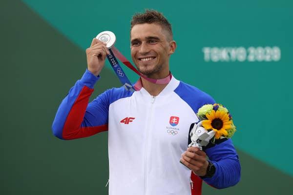 Jakub Grigar of Team Slovakia celebrates with silver medal