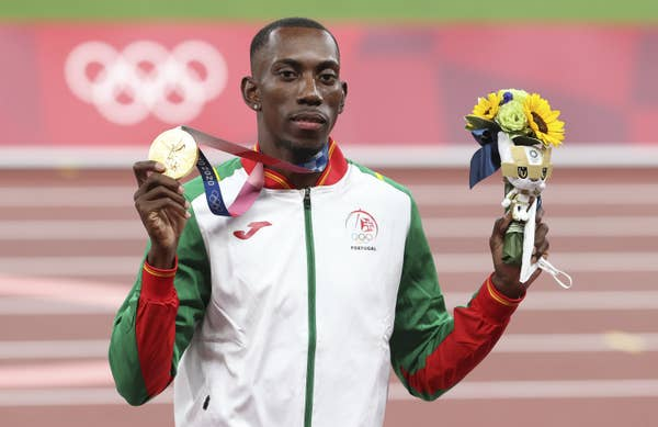 Pedro Pichardo of Portugal with gold medal