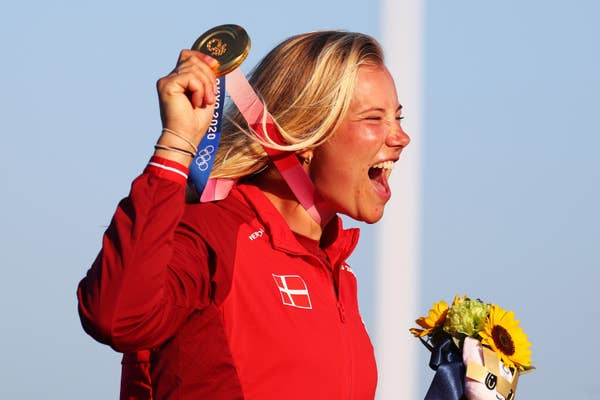 Anne-Marie Rindom of Team Denmark poses with the gold medal