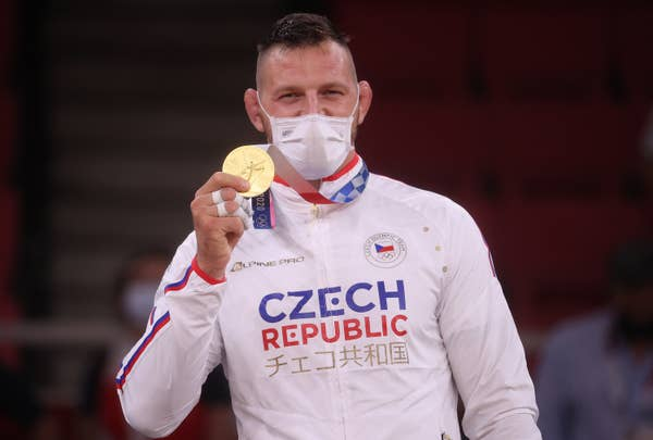 Lukas Krpalek of Team Czech Republic poses with the gold medal