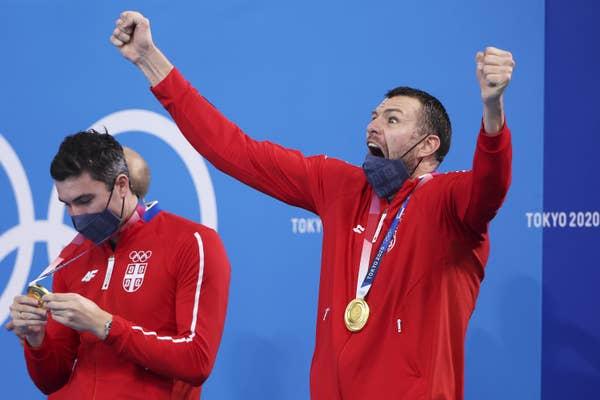 Branislav Mitrovic of Team Serbia celebrates gold medal by screaming for joy