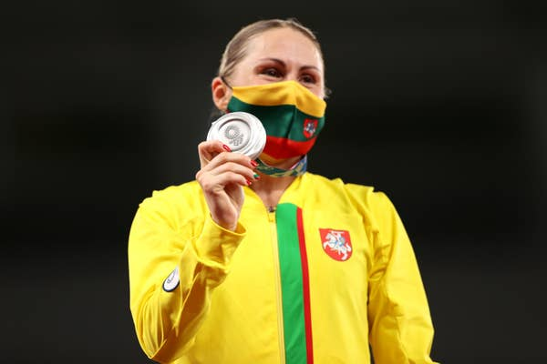 Laura Asadauskaite of Team Lithuania poses with the silver medal