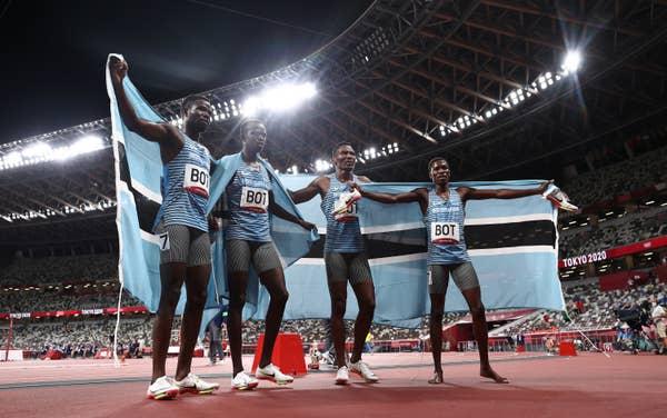 Four runners in Team Botswana Men's Relay