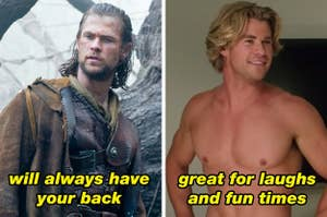 Left: Eric from Snow White And The Hunstsman; Right: Stone Crandall from Vacation standing shirtless