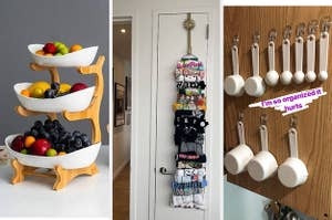 triple layer fruit bowl, T-shirt roller keeper, measuring cups organized with Command strips