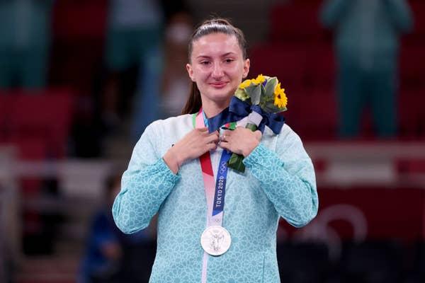 Irina Zaretska of Team Azerbaijan poses with the silver medal