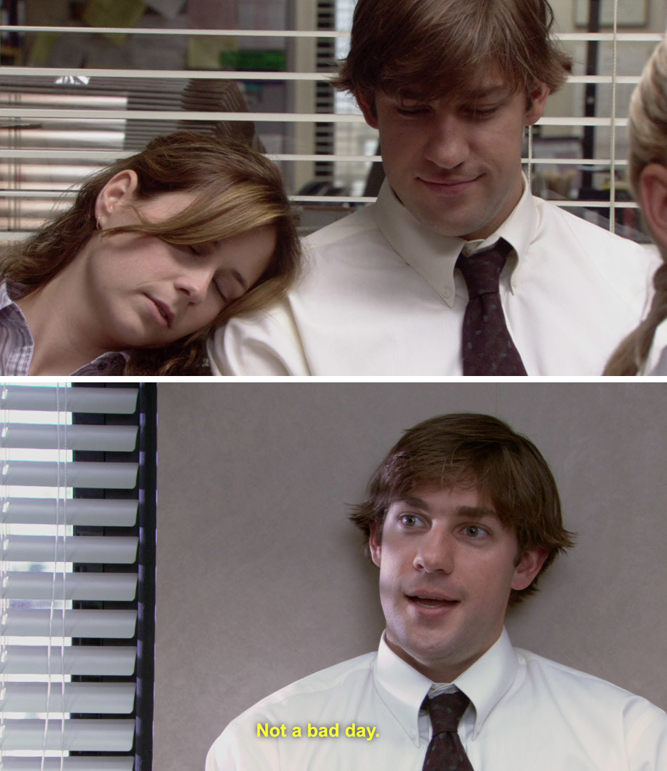 """Jim smiles when Pam falls asleep on his shoulder next to a scene of him alone saying, """"Not a bad day"""""""