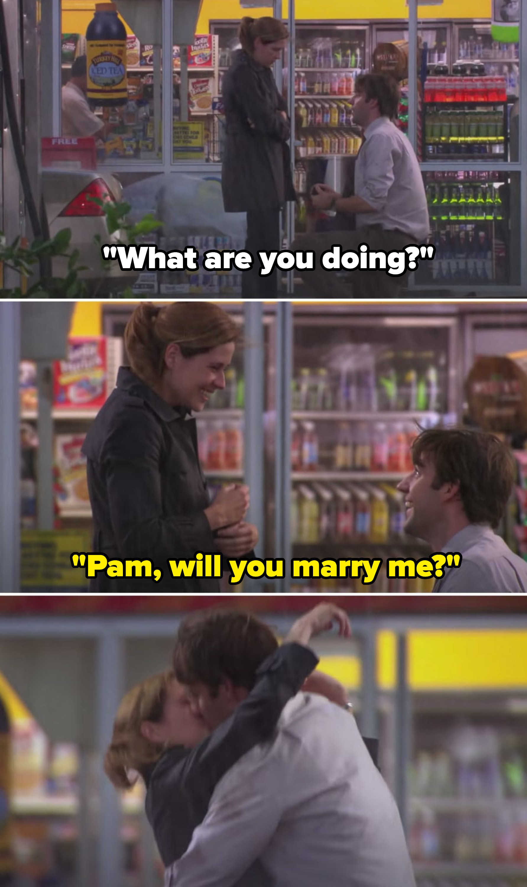 """Jim gets down on one knee and Pam asks, """"What are you doing?"""" Jim says, """"Pam, will you marry me?"""" and finally, the two embrace with a kiss"""