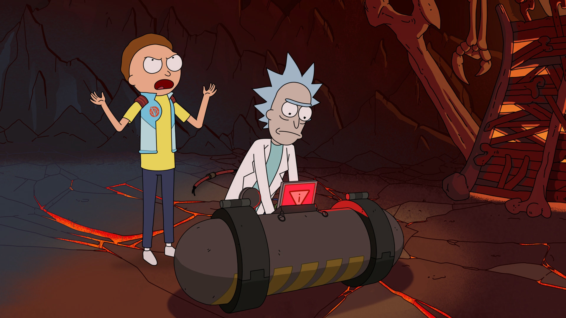 Morty rants at Rick while Rick disables a neutrino bomb