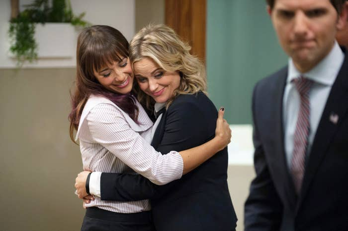 Leslie and Ann embrace during the series finale