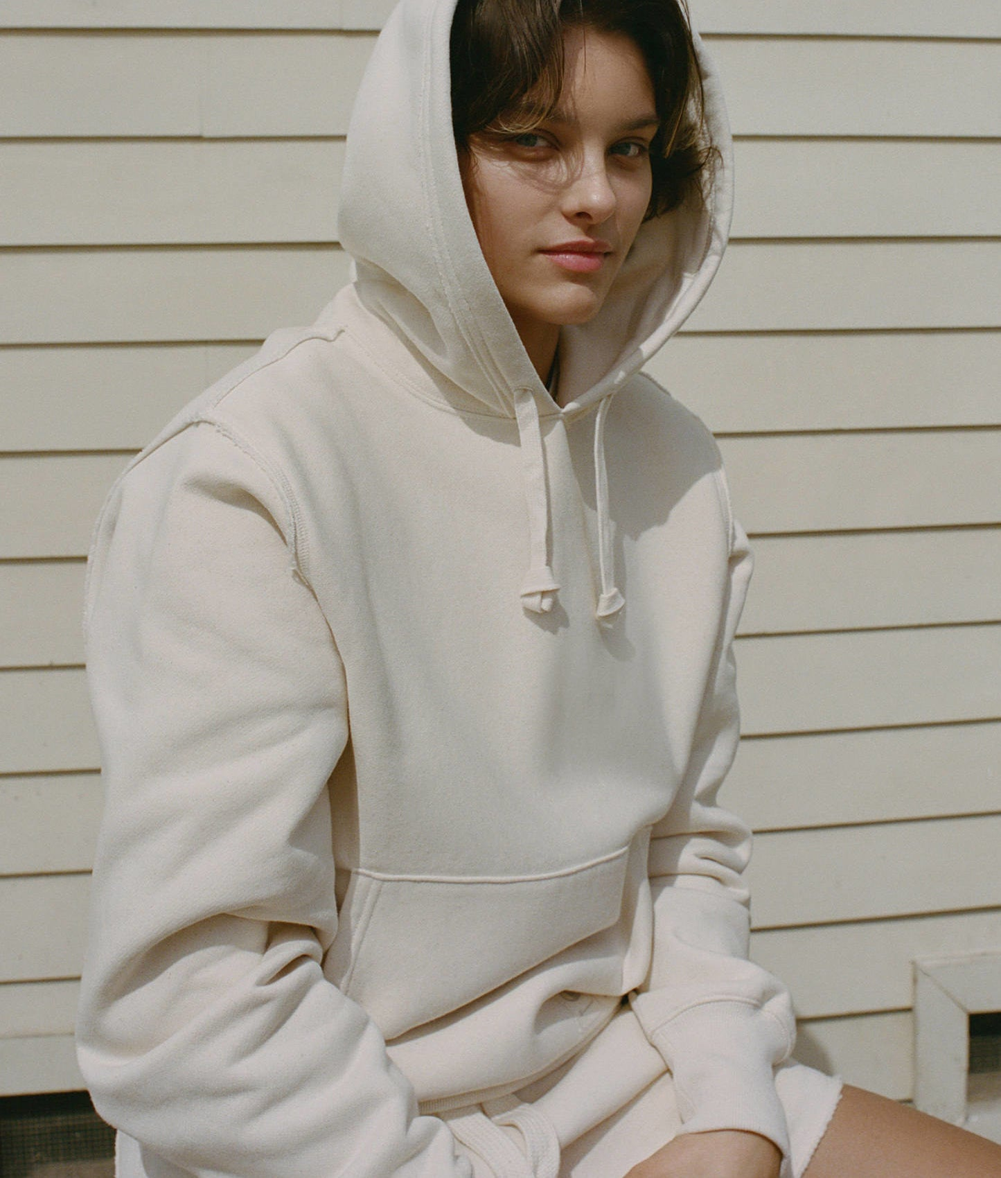 a person wearing a big hoodie