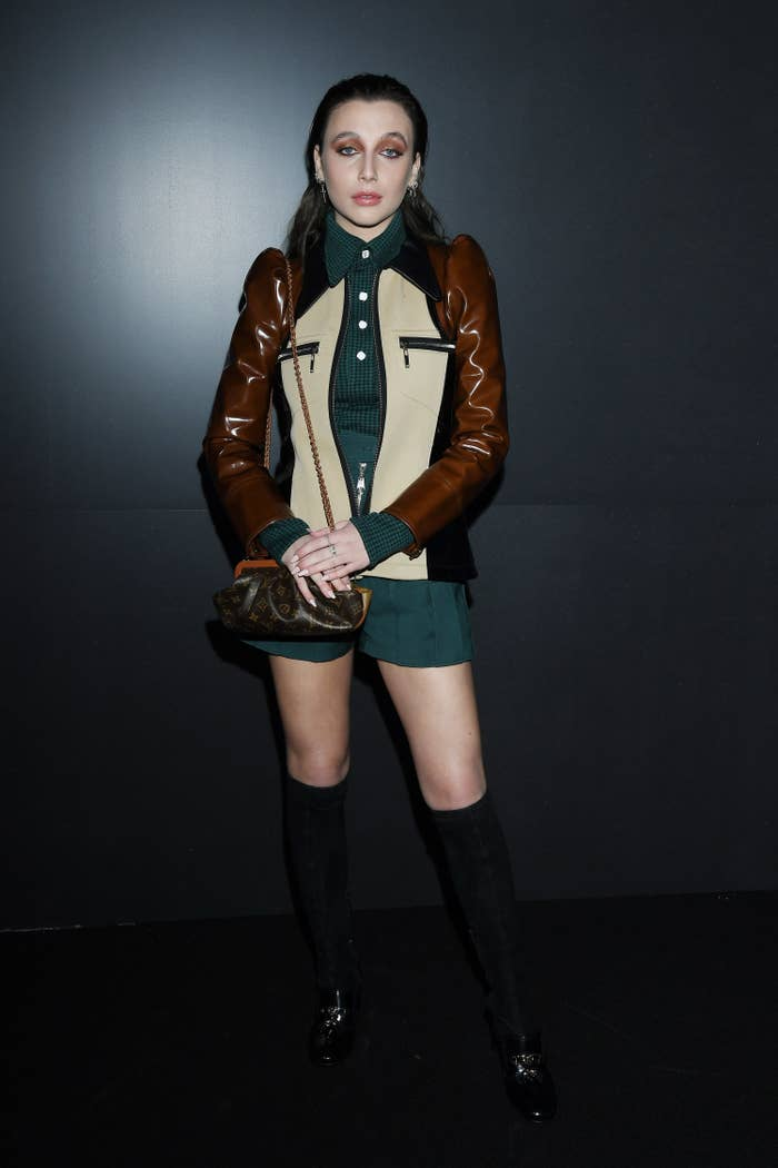 Emma Chamberlain attends a fashion show during Paris Fashion Week in March 2020