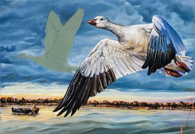 Fennell's work in progress shows two geese in flight over a body of water