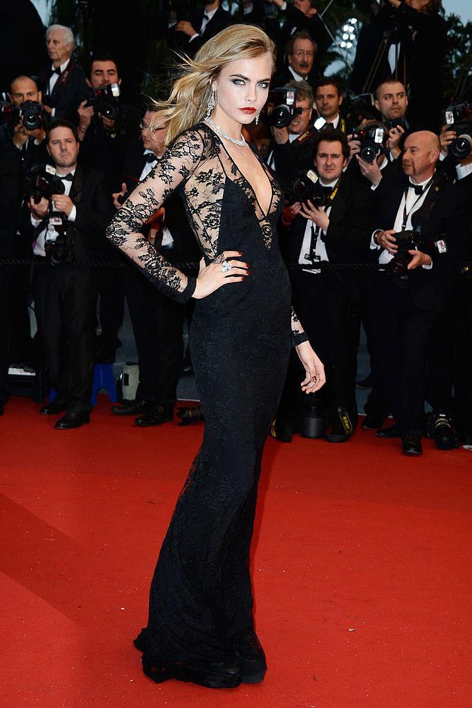 long, black lace dress and classic makeup